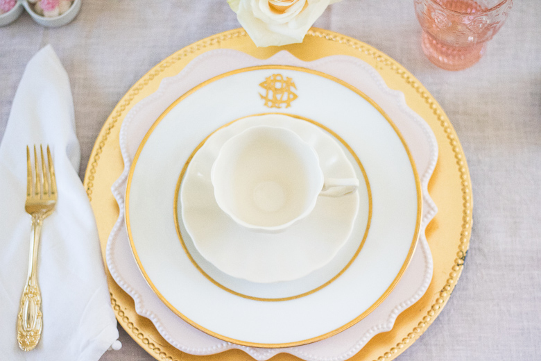 Pink and Gold place setting for bake group