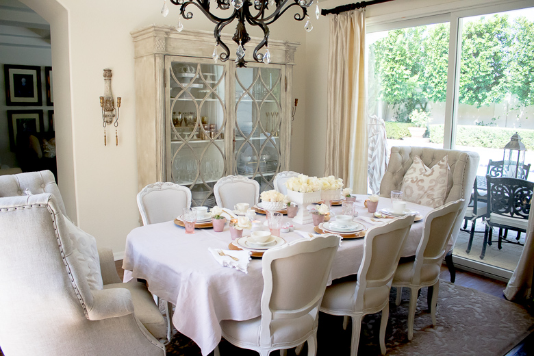 Pink and gold table setting for bake group
