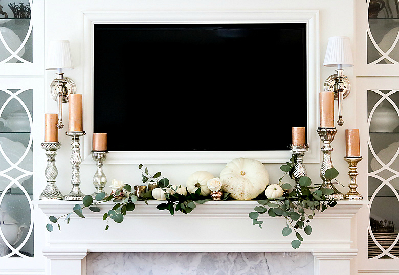 elegant-white-pumpkin-and-rose-gold-mantle-for-fall