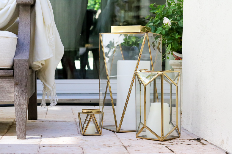Gorgeous Fall Porch and Patio Inspiration - gold lanterns
