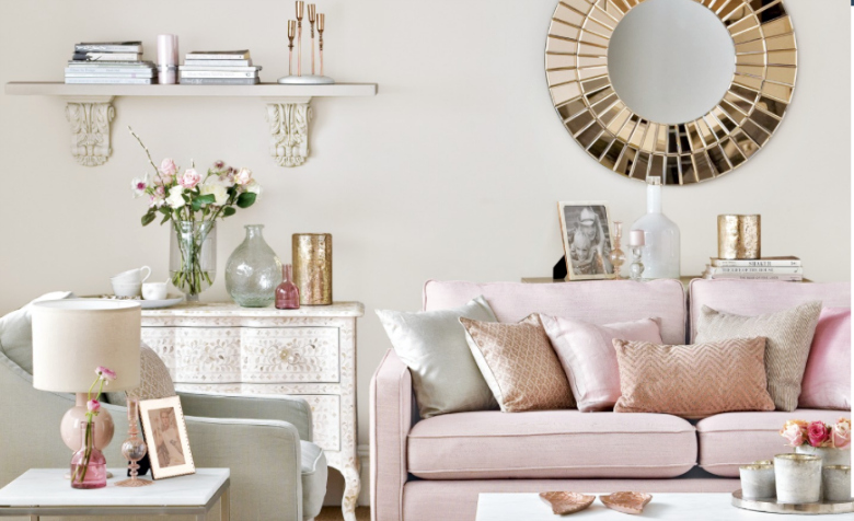 Fashion friday trend alert rose gold for Living room ideas rose gold