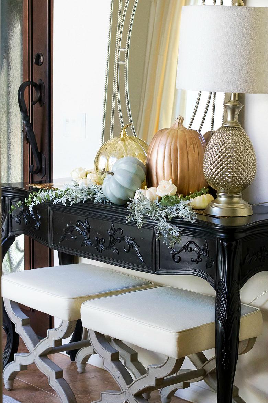 rose-gold-pumpkin-vignette-for-fall