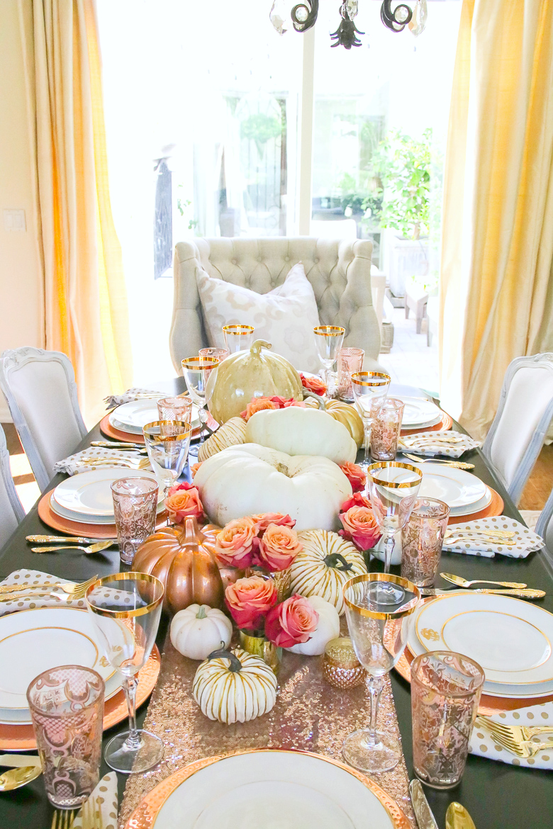 Rose Gold Centerpieces For Fall Tablescape