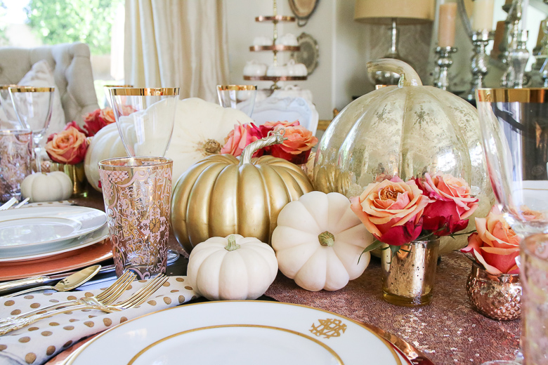 roses-in-mini-gold-votives-for-fall-table