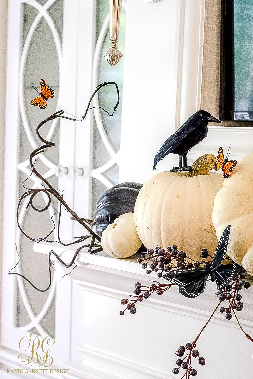 elegant halloween mantel with butterflies - Elegant Halloween