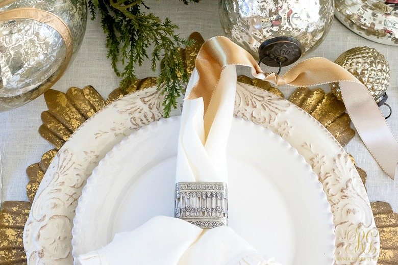 Christmas Place Setting Silver And Gold