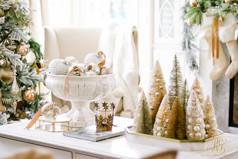 christmas-coffee-table-mercury-glass-ornaments-bottle-brush-trees