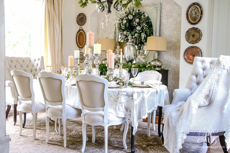 Christmas Dining Room Decor elegant white and gold christmas dining room and table scape