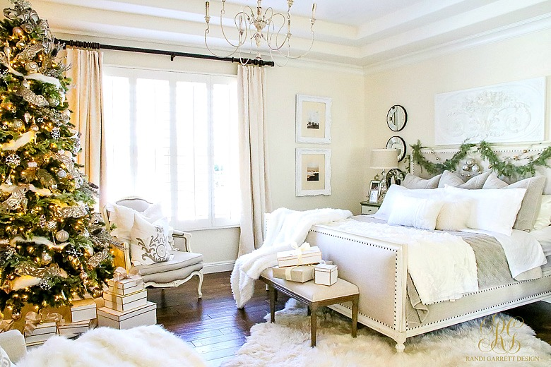 Deck Halls Christmas Home Tour Elegant White Master Bedroom Romantic