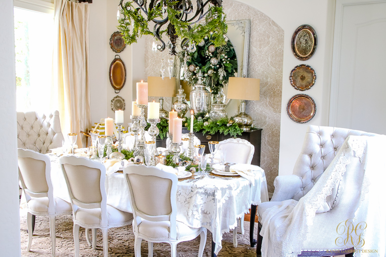 Elegant white and gold christmas dining room and table scape for Christmas centerpieces for dining room table