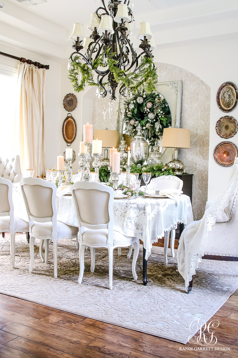Elegant White and Gold Christmas Dining Room and Table Scape : Elegant Christmas dining room 1 from randigarrettdesign.com size 780 x 1170 jpeg 619kB