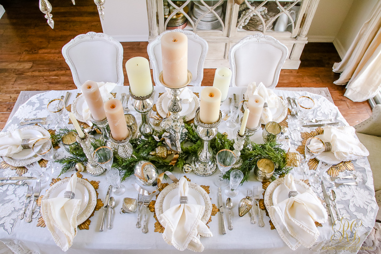 Elegant Christmas Table Scape Gold White