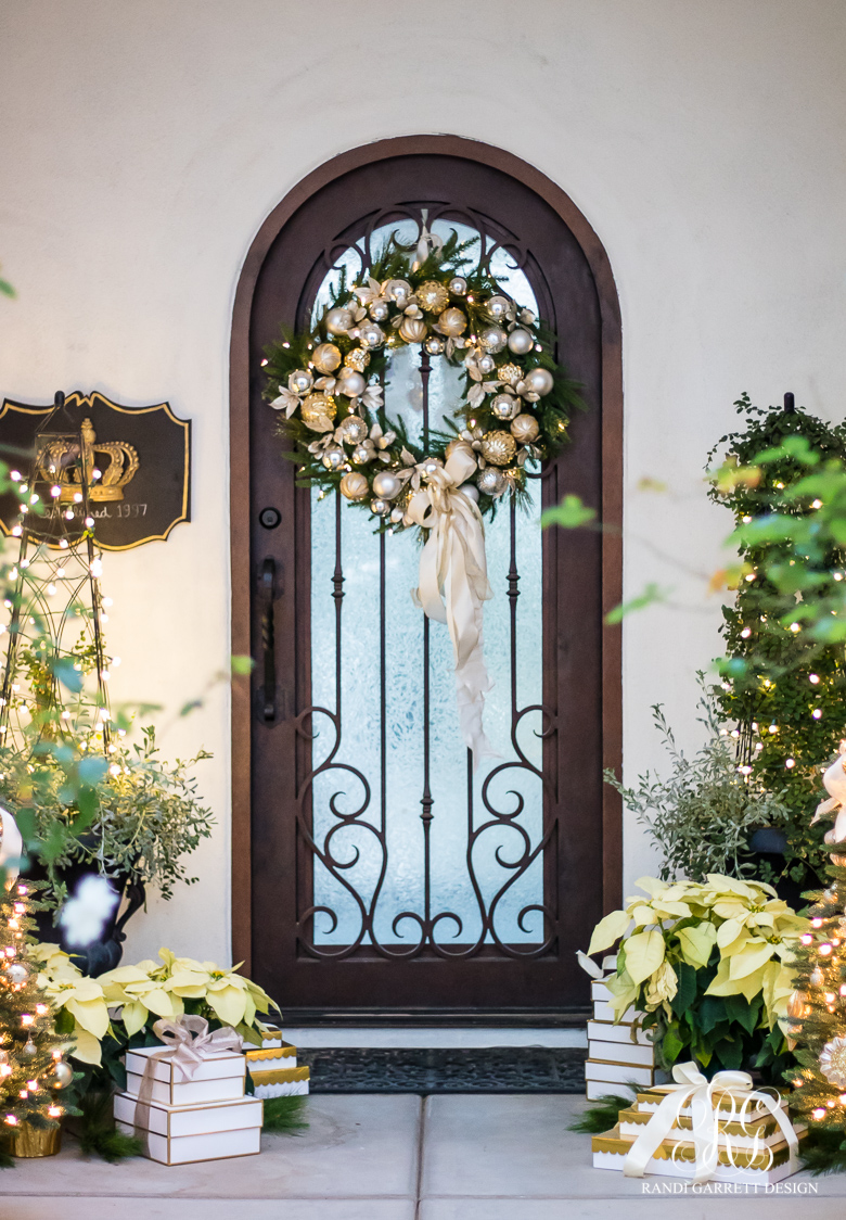 elegant silver and gold christmas porch - Christmas Front Porch