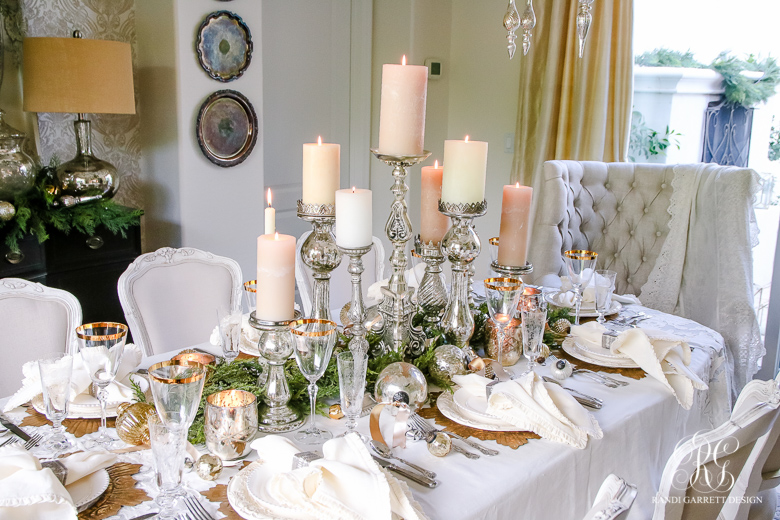 Silver Gold Decor For Christmas Table Center Between Candles