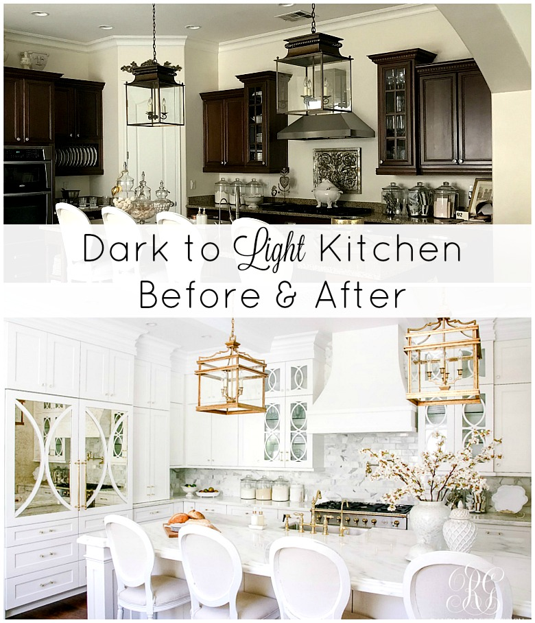 White Kitchen Lighting Dark to light kitchen before and after elegant white kitchen reveal for a full detailed sources list click here there are also some sources listed throughout this post there are affiliate links used in this post for your workwithnaturefo