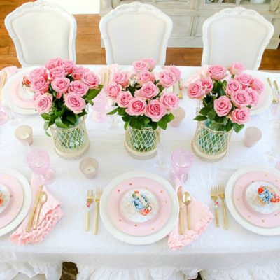 How to Set a Perfect Pink Easter Table with DIY Mini Floral Easter Baskets