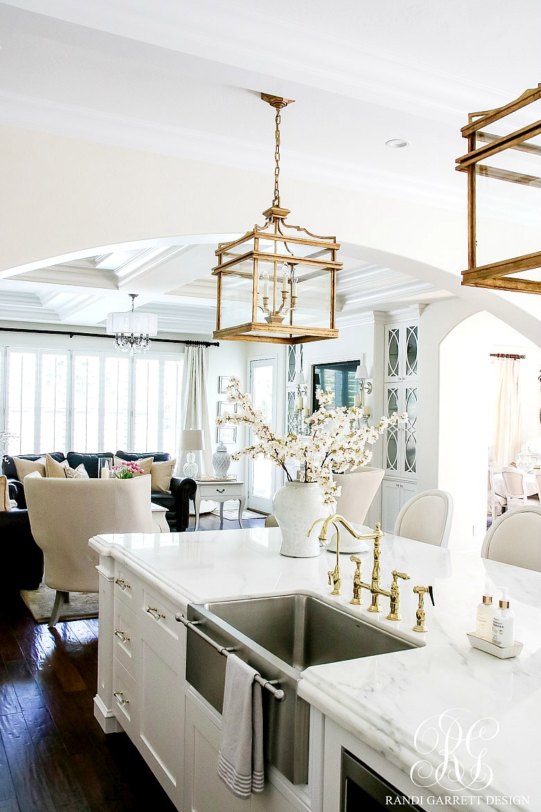 White Kitchen Lighting Dark to light kitchen before and after elegant white kitchen reveal they hang above the island like a statement piece around a classy ladys neck all of our kitchen lighting was purchased through lighting workwithnaturefo