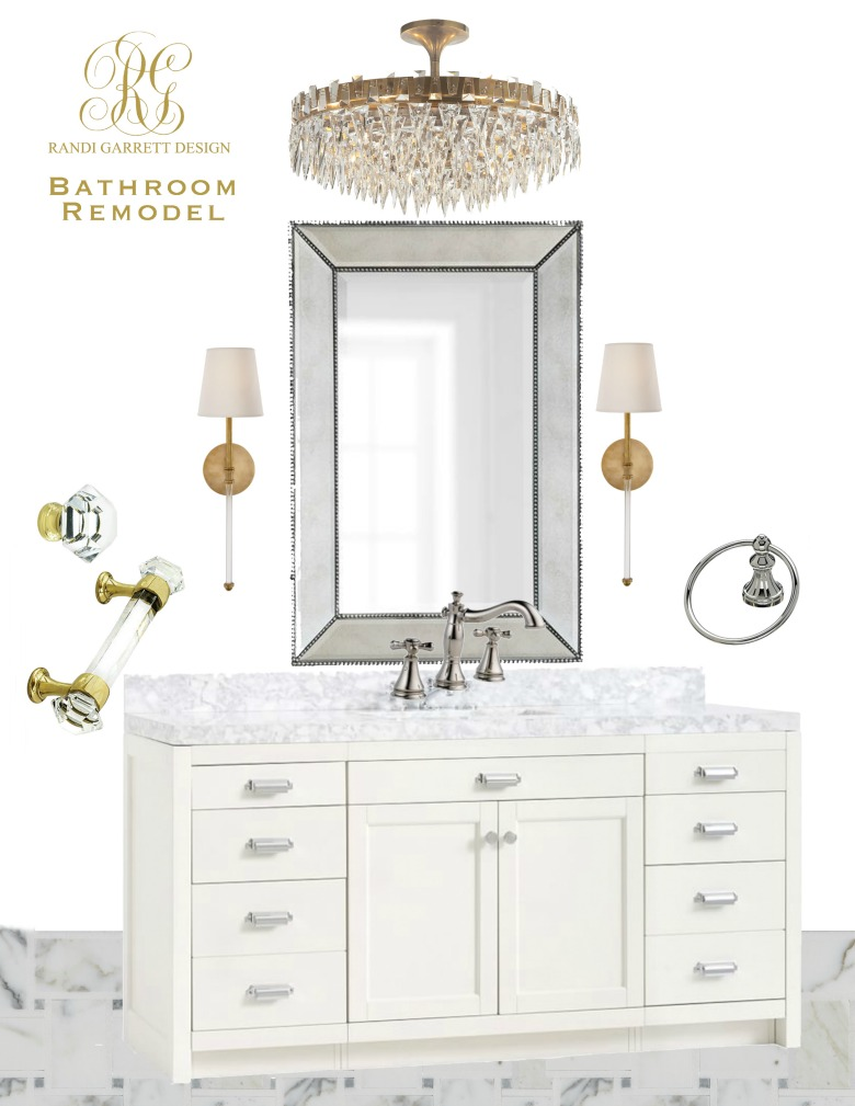 Transitional Guest Bathroom Makeover Mood Board Before And After