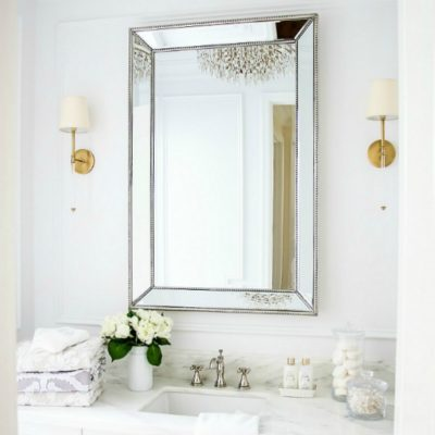 Glam Transitional Guest Bathroom Reveal – with Marble Silver and Brass