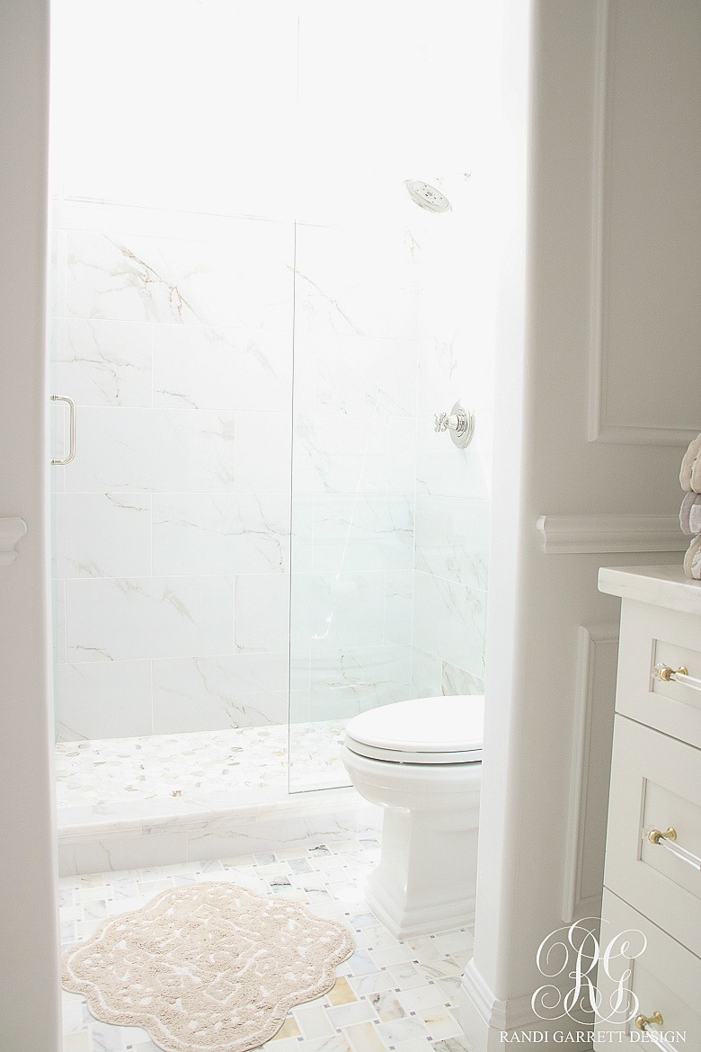 Glam Transitional Guest Bathroom Reveal With Marble