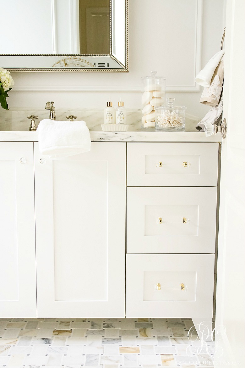 Glam Transitional Guest Bathroom Reveal With Marble Silver