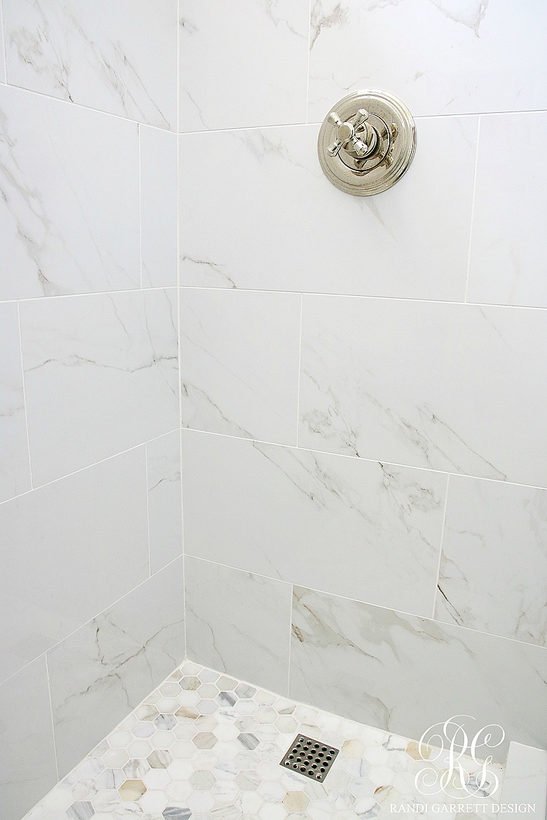 Shower Floor Tiles Which Why And How: Glam Transitional Guest Bathroom Reveal