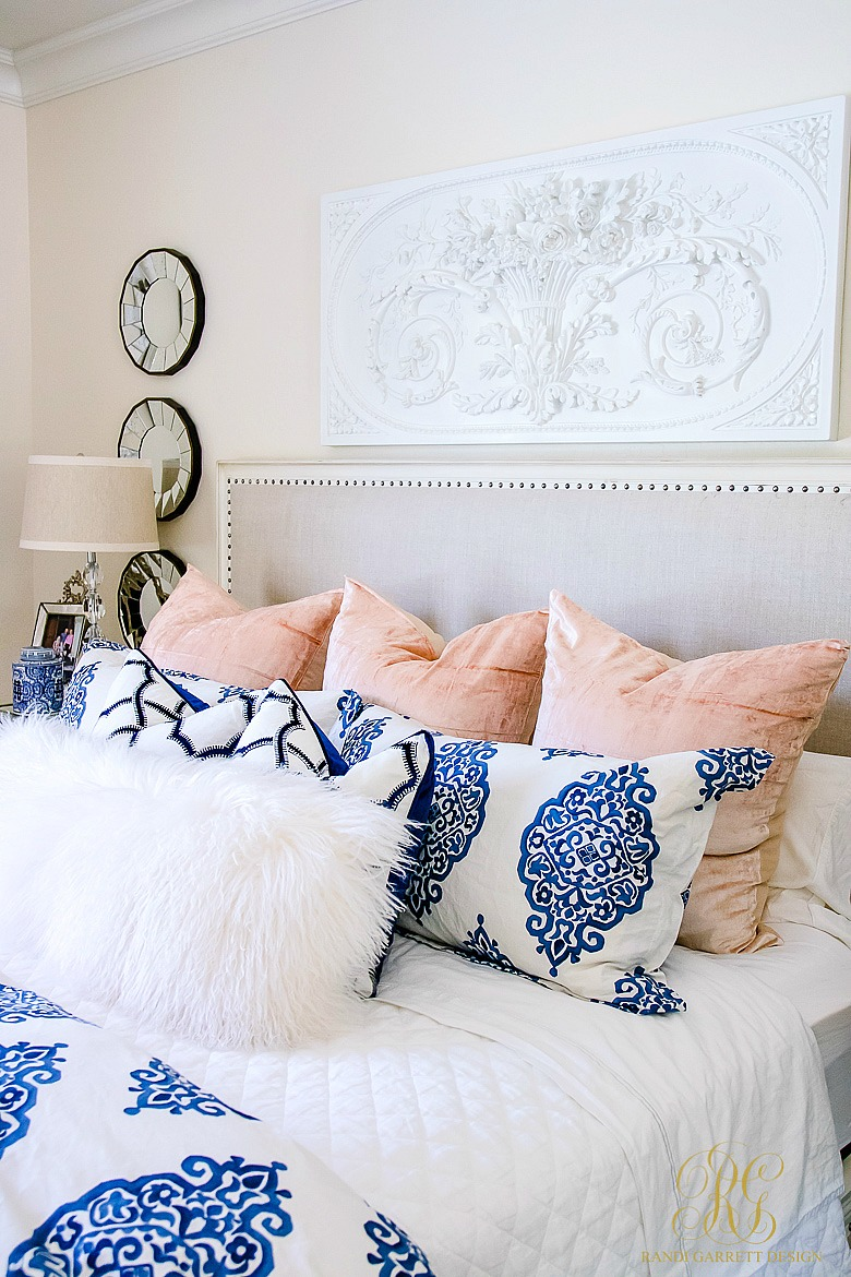 earlier this summer i added some blue and white bedding to our all white bedroom sprinkling these velvet blush euros to the bed adds even more character