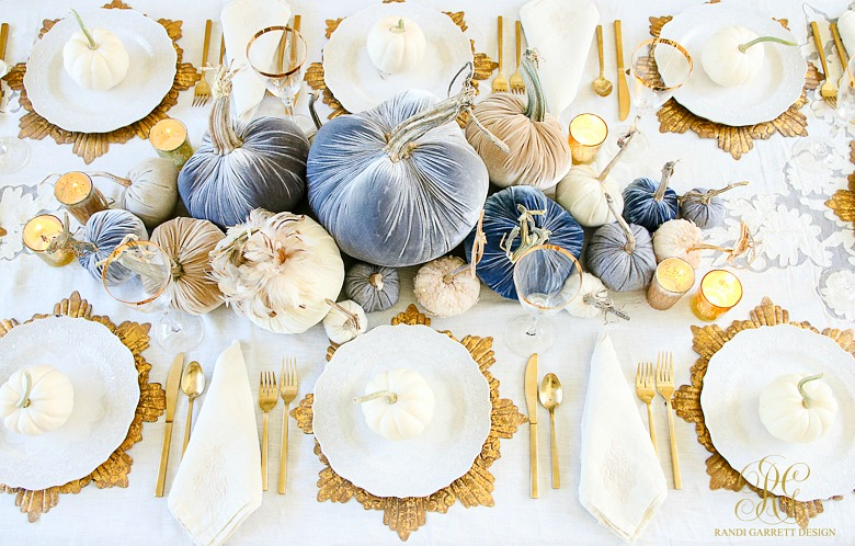 Blue and gold fall tablescape