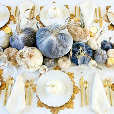 Glam Fall Dining Room Tour + Velvet Pumpkin Table