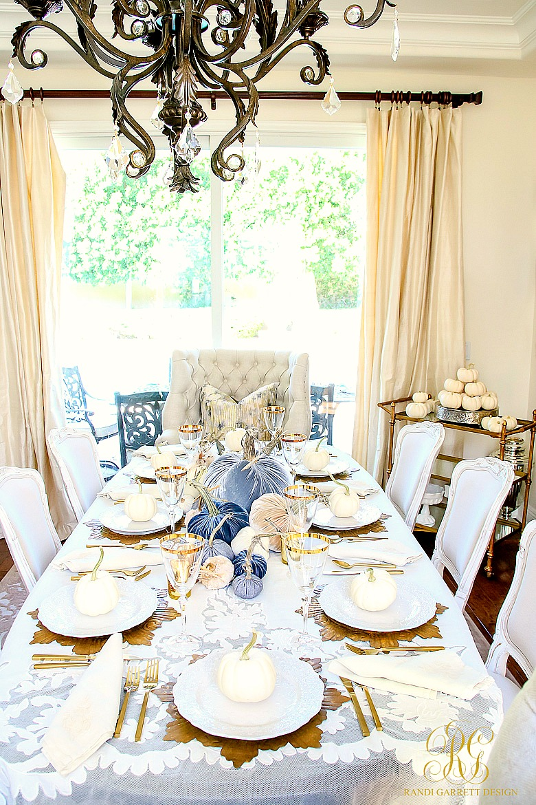 Glam Fall Dining Room + Velvet Pumpkin Table