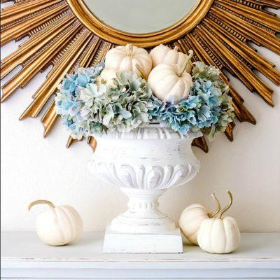 Simple White Pumpkin Hydrangea Arrangement