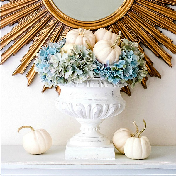 Simple White Pumpkin Hydrangea Arrangement
