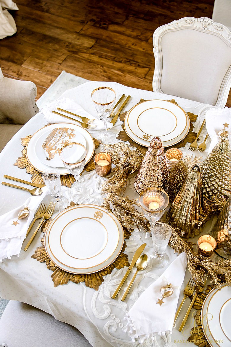 Elegant Gold Christmas Table Scape Randi Garrett Design