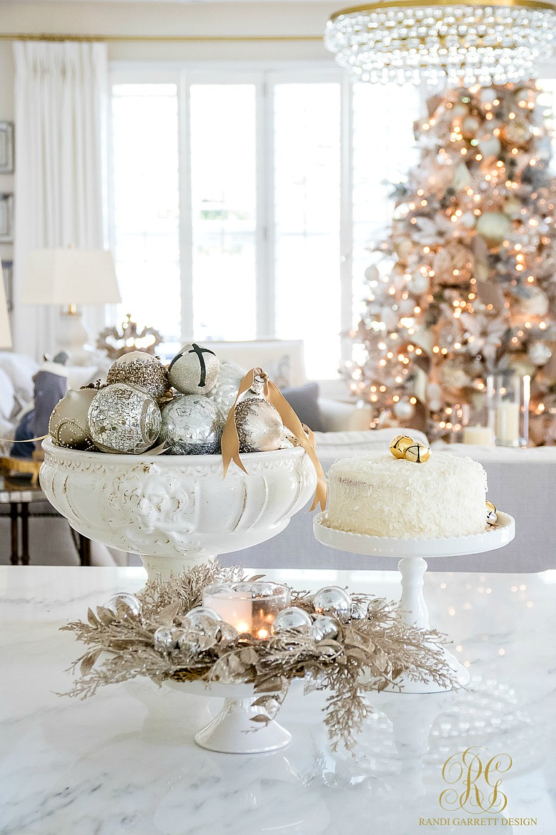 its just not christmas without a coconut cake use your favorite baked goods as decor for this delicious coconut cake recipe click here - Decorating With Silver And Gold For Christmas