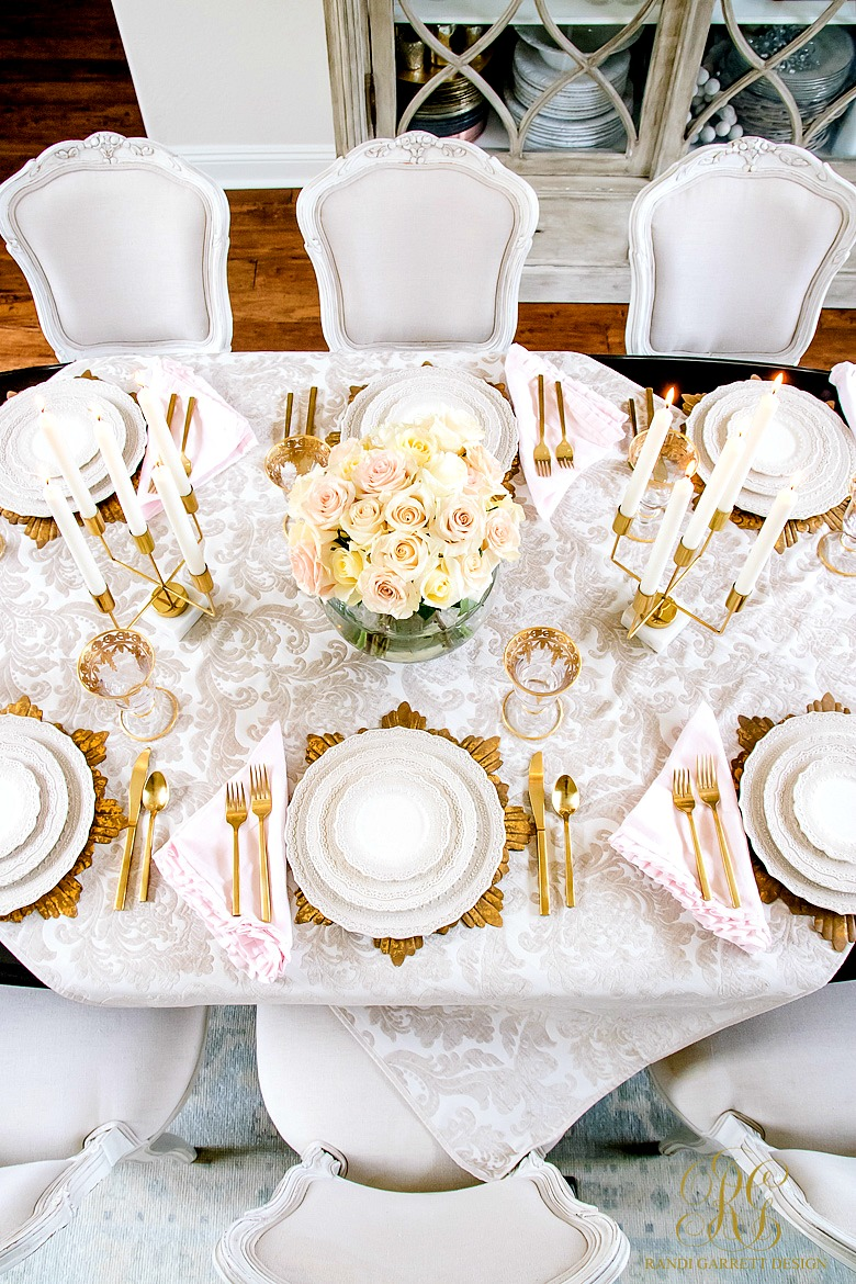 Glam Blush + Gold Valentine's Day Table