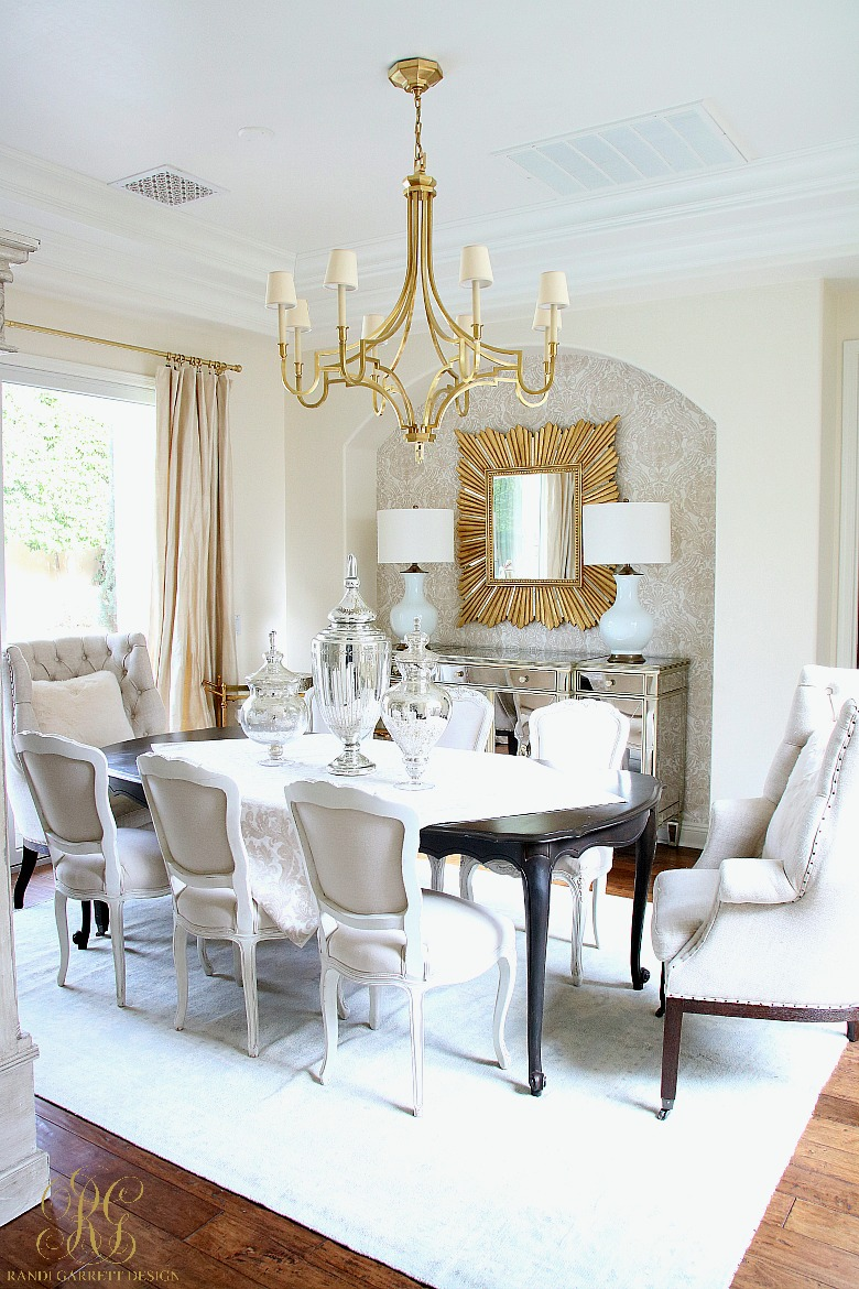 It Is A Transitional, Glam Dining Room All Ready For Entertaining! Stay  Tuned, Iu0027ll Be Sharing Her All Dressed Up With My Favorite Colors U2013 Pink  And Gold In ...