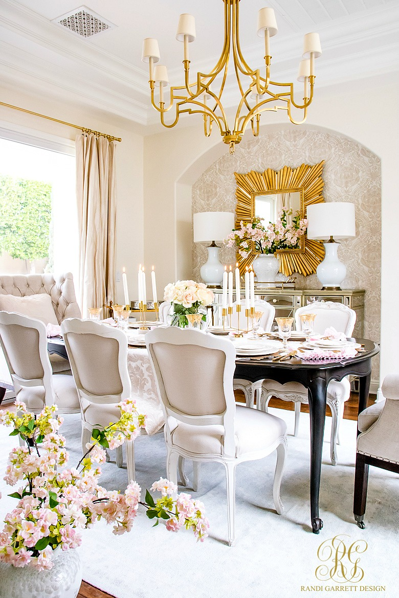 Glam transitional dining room valentines day table