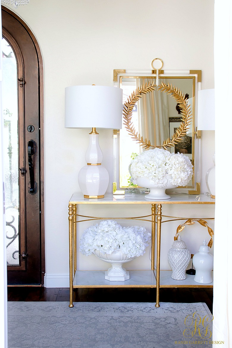 white and gold fall decor - entry table styled for fall