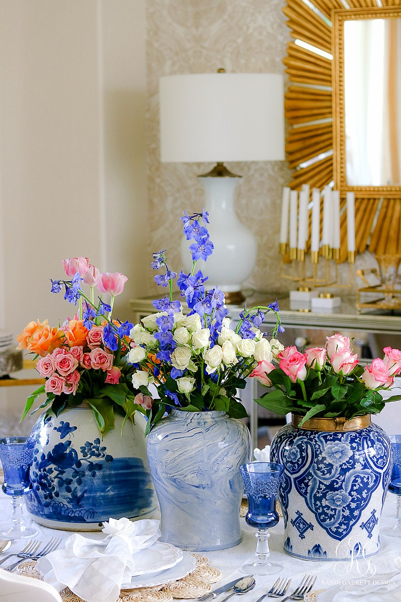blue and white temple jars with spring flowers