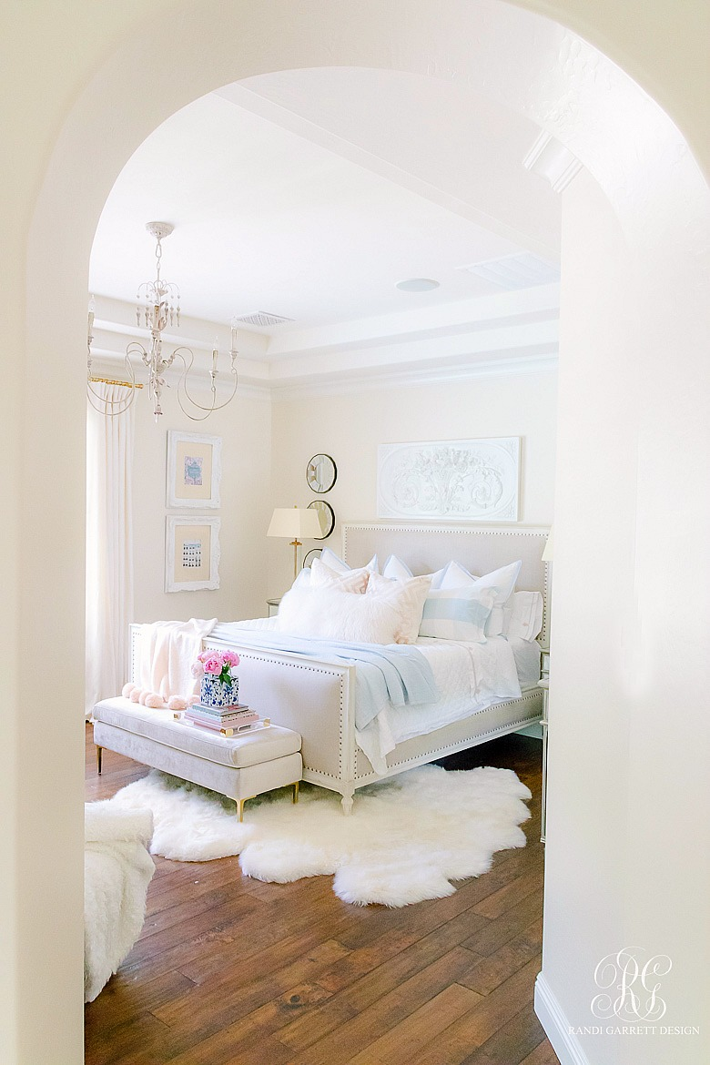 pretty bedroom styled for summer