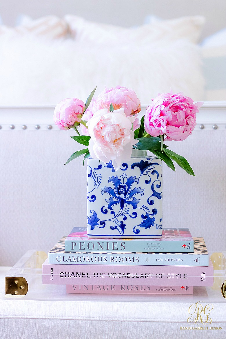 pretty coffee table books - pink peonies in ginger jar