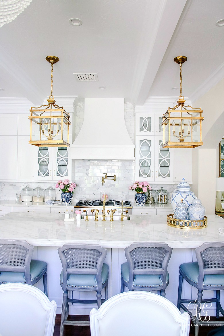 white kitchen styled for summer - summer home tour