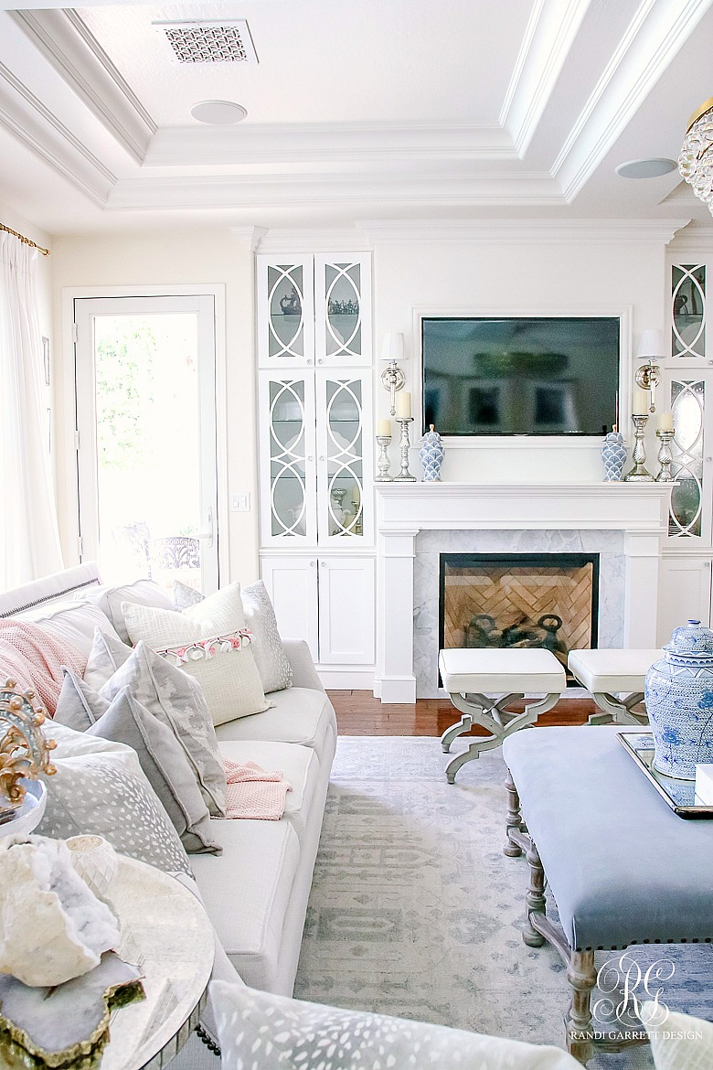 elegant fireplace with cabinets - summer home tour