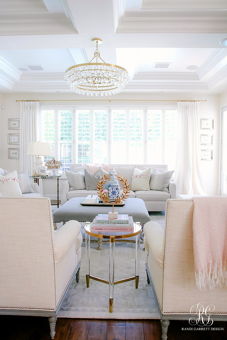 brass crystal chandelier - glam family room - summer home tour