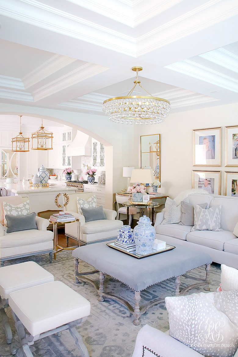 neutral family room styled for summer