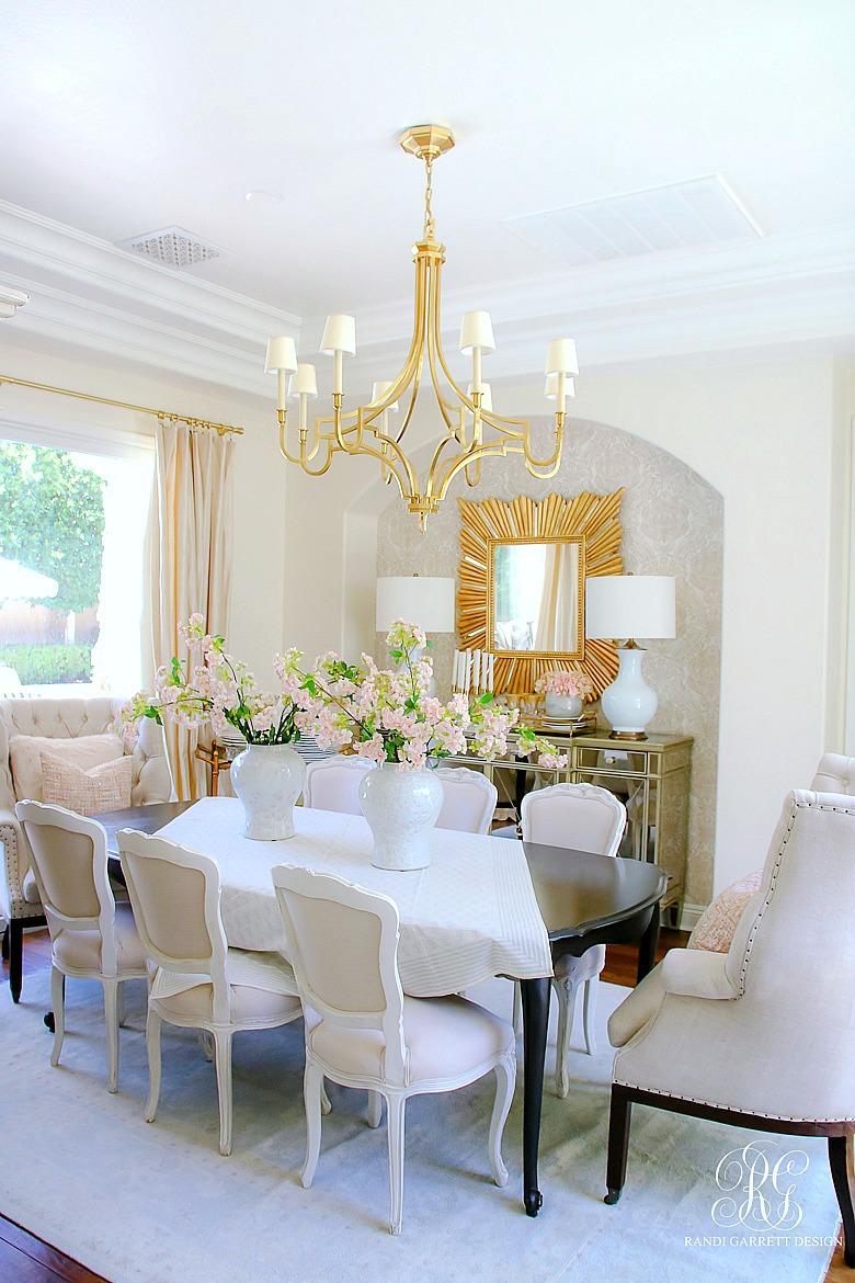 glam dining room styled for summer