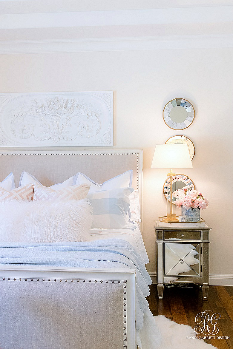 glam pink and blue summer bedroom