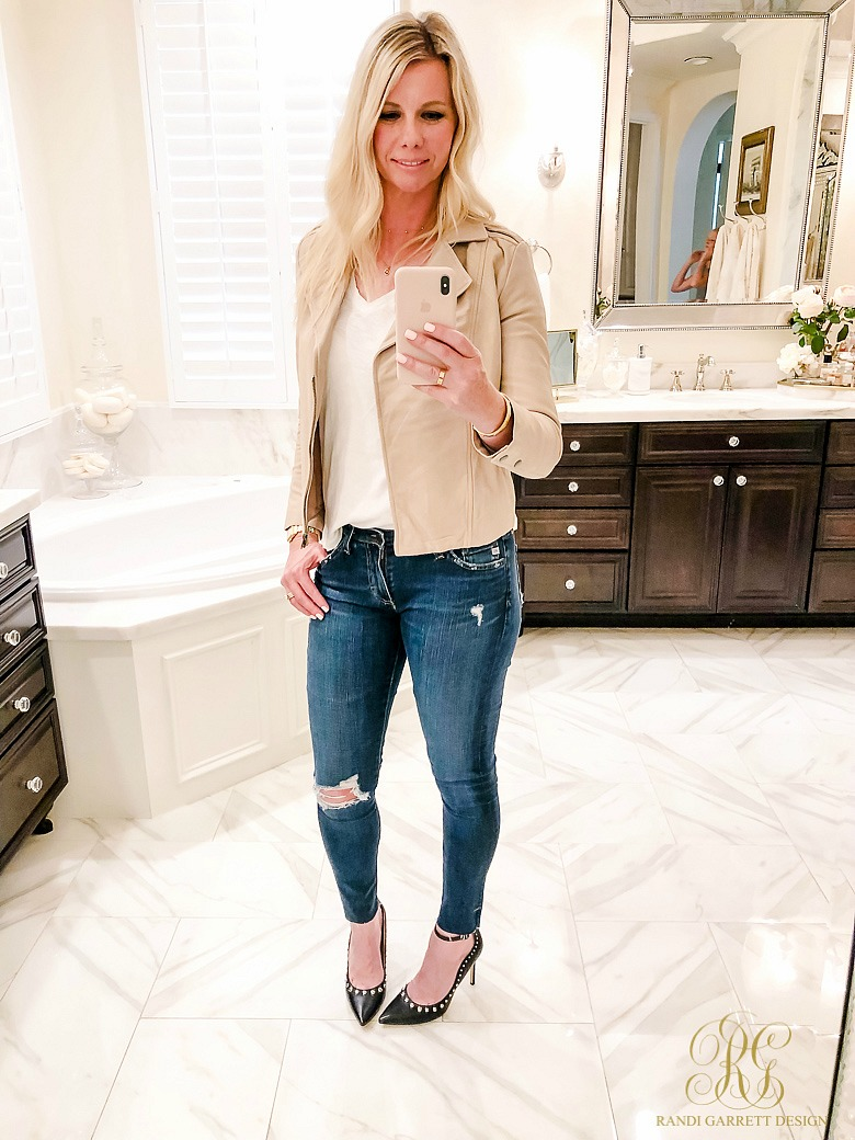 Leather jacket - black studded heels - date night outfit