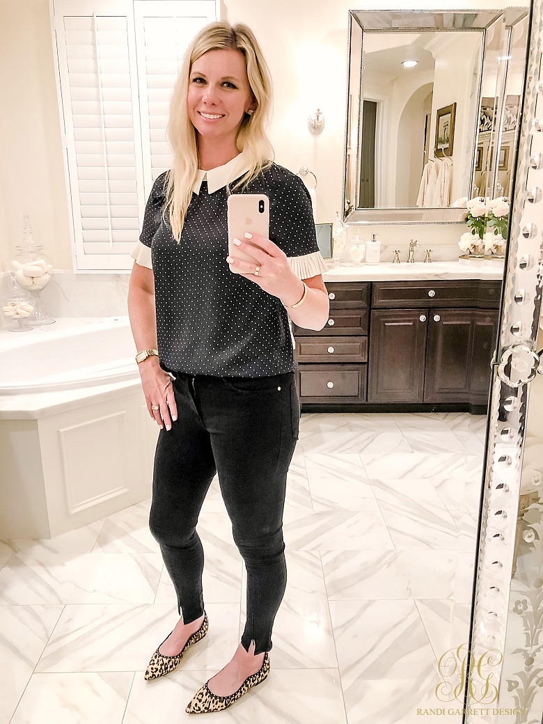 polka dot top - black skinny jeans - leopard flats