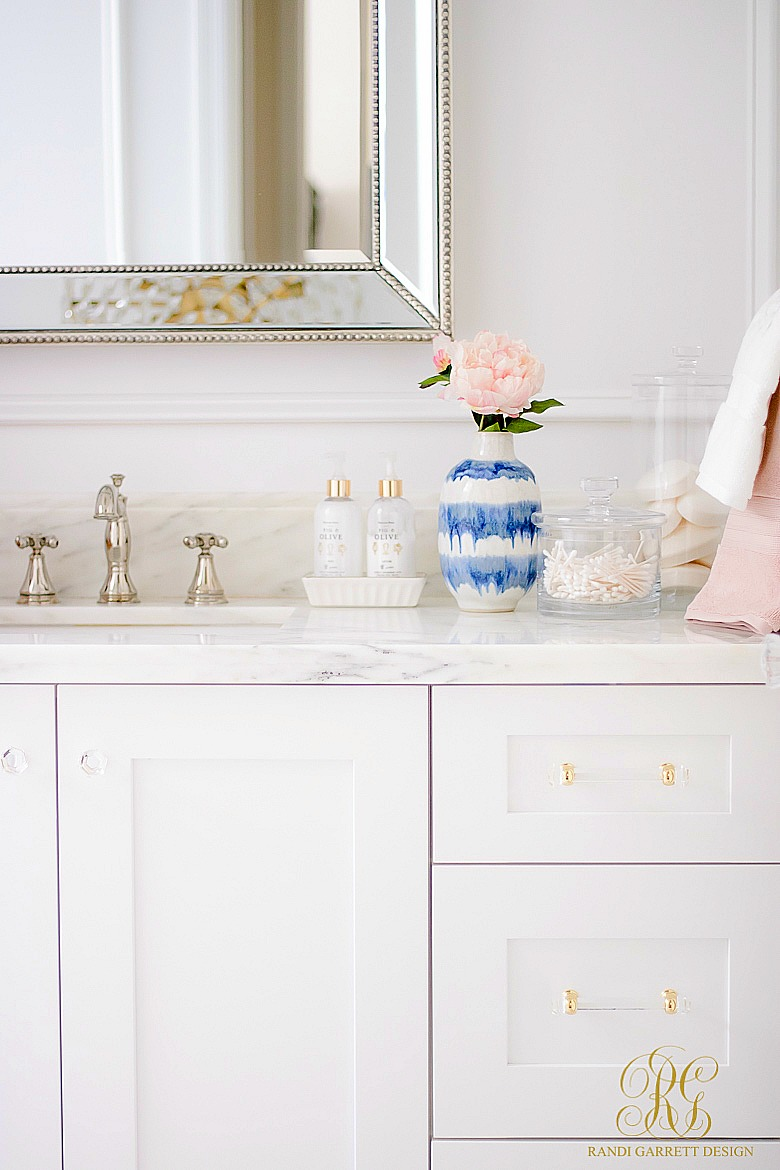 Daily Cleaning Routine - white glam bathroom